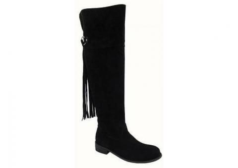 Tall Black Fringe Boots! Brand new in box! Yoki Kristen, Size 6:  Simply didn't fit!